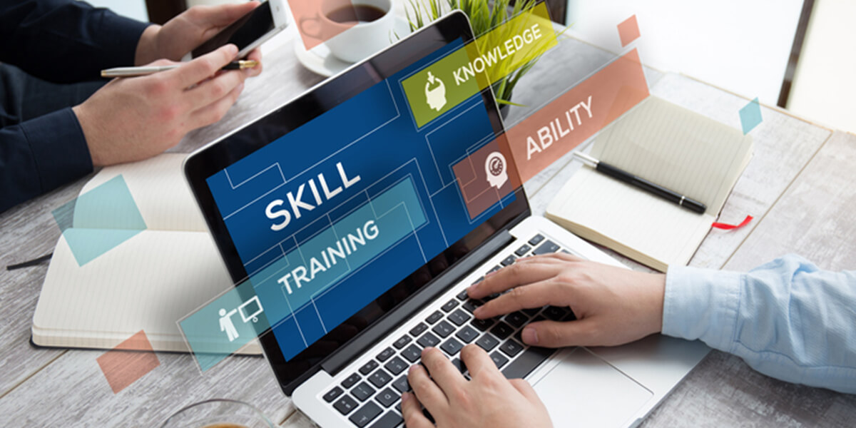 skill concepts on laptop - viable autistic self employment strategy and mentoring services